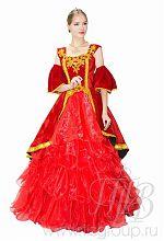 Платье бальное красное в стиле барокко
