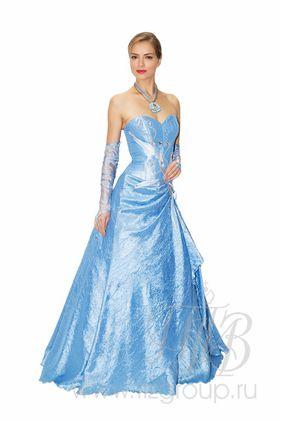 Корсетное, бальное платье голубое