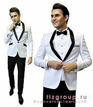 Свадебный костюм для жениха в Санкт-Петербурге Белый пиджак с черными отворотами