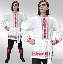 Льняная мужская народная косоворотка с вышивкой