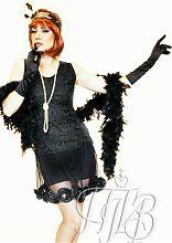 Платье черное в стиле Чикаго бахрома