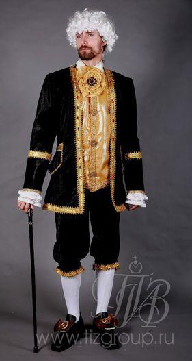 Мужской костюм придворного, 18 век (черный)